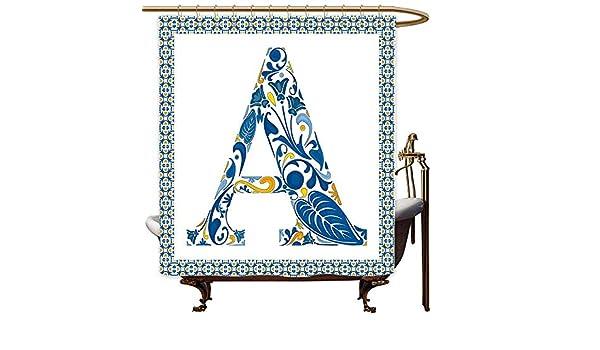 MaryMunger - Cortinas para mampara de Ducha, diseño Abstracto geométrico con la Letra A, diseño de Hojas y Flores, Color Azul, Amarillo y Naranja: Amazon.es: Hogar