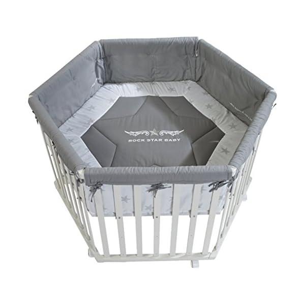 roba Parc 'Rock Star Baby 2', parc hexagonal, parc sûr avec tour de parc et roulettes avec freins, grille pour bébé, bois naturel, H: 72,5cm, diamètre extérieure 120cm, barres planes 1