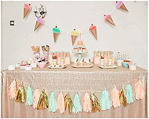 B-COOL Sequin Tablecloth Champagne Blush 50