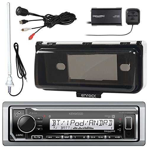 Kenwood Marine Bluetooth Receiver, SiriusXM Satellite Radio Tuner Kit, Enrock AM/FM Antenna (White), Enrock Marine Single Din Radio Dash Protector (White), USB AUX Stereo Interface
