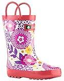 Oakiwear Kids Waterproof Rubber Rain Boots With Easy-on Handles (pink Flowers, 10 M Us Toddler) | amazon.com