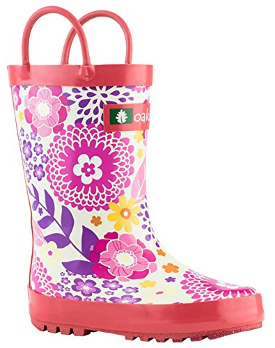 Oakiwear Kids Rubber Rain Boots With Easy-On Handles, Pink F