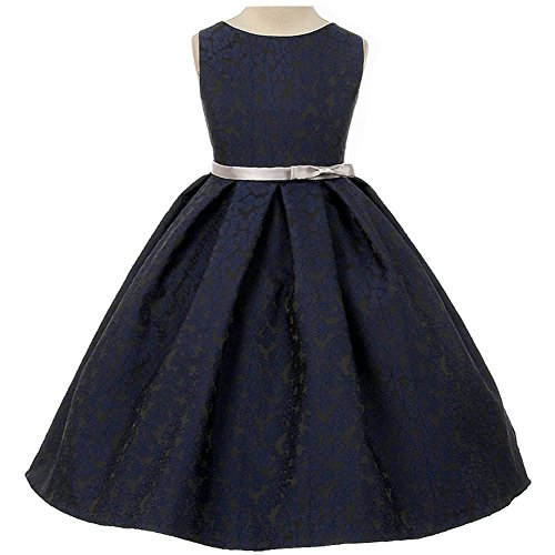 Girl Blue Floral Skirt (Big Girls Beautiful Floral Jacquard Pleated Skirt Dress Navy - Size 8)