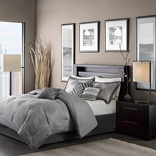 madison park quinn queen size bed comforter set bed in a bag grey jacquard 7 pieces bedding sets ultra soft microfiber bedroom comforters - Modern Bedding Sets