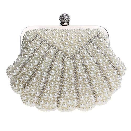 Raccoglitore Borse Perle Eleganti Frizione Di Catena Delle Donne Beige Nozze Del Sera Da Vestono Delle Signore Borse Della Spalla Oro Sacchetto 5q71g1