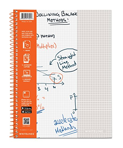 WhiteLines 17001cs Case of 12 Whitelines Notebooks, Grey Lined Paper, Background Disappears When You Scan Pages With Whitelines Free App, Case 11''x8.5'' Graph, Orange by WhiteLines (Image #9)