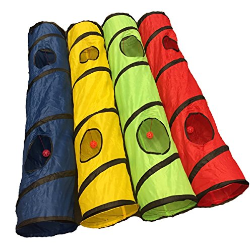 Shop4Omni-Kitty-Cat-Play-Tunnel-Pet-Toy-Four-Exit-Holes-4-Feet-Long-Blue