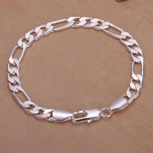 khamchanot Fashion 925 Silver Filled Italy Figaro Chain Jewelry Charm Bracelet Chain Cuff ()