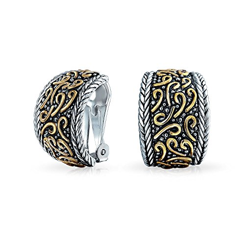 (Bali Style Swirl Half Hoop Clip On Earrings Rhodium Plated Gold Plated Brass)