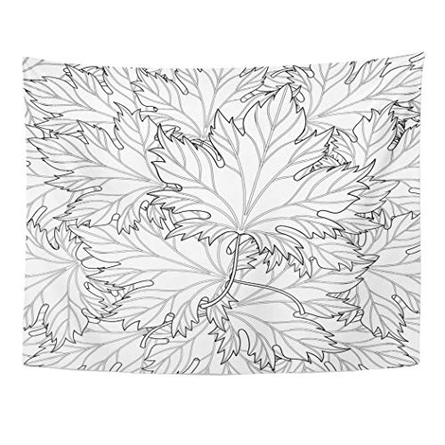 Tarolo Decor Wall Tapestry Zentangle Autumn Fall Leaves for Halloween Thanksgiving Day Freehand Sketch Adult Coloring Page Doodle 80 x 60 Inches Wall Hanging Picnic for Bedroom Living Room -