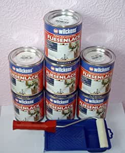 Wilckens - Latas de pintura para azulejos (7 unidades, 750 ml), color blanco y juego de pintura