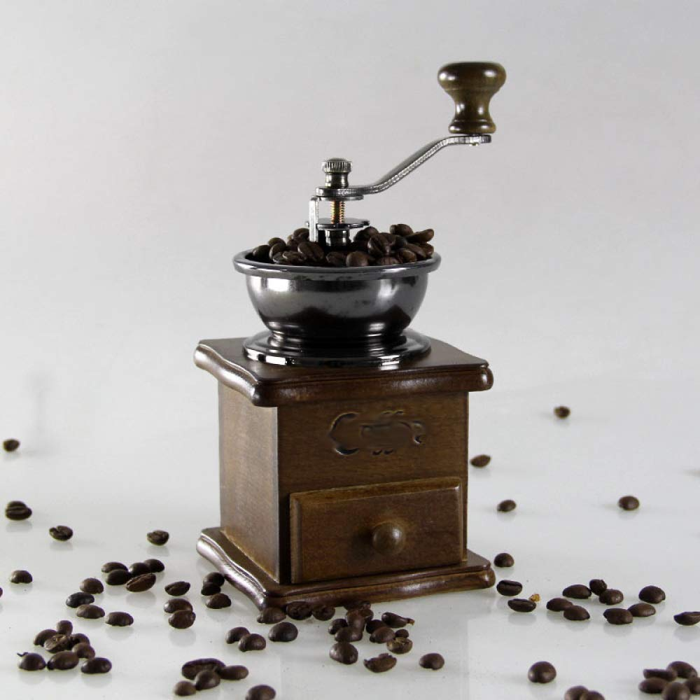 PLLP Solid Wood Hand Grinder/Coffee Bean Machine/Retro Coffee Machine/Mini Coffee Machine/Home Grinder,A,One Size
