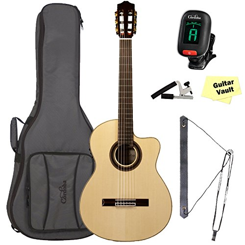 Cordoba GK Studio Negra [Gipsy Kings Signature Model] Acoustic Electric Nylon String Flamenco Guitar Bundle with Deluxe Gig Bag (Model Guitar Acoustic Signature Electric)