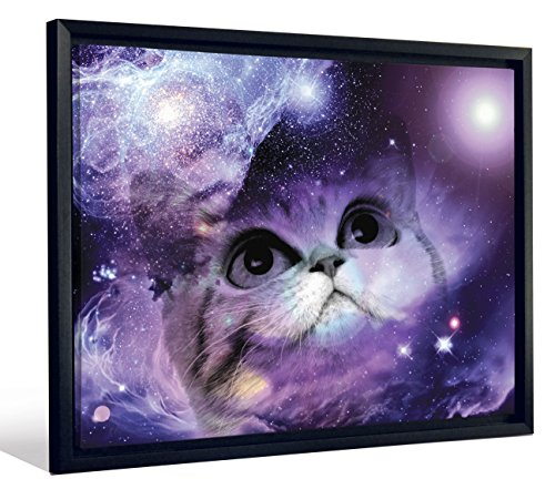 JP London Framed Fantasy Kitty Cat Kitten In Space Gallery Wrap Heavyweight Canvas Art Wall Decor, 20.375
