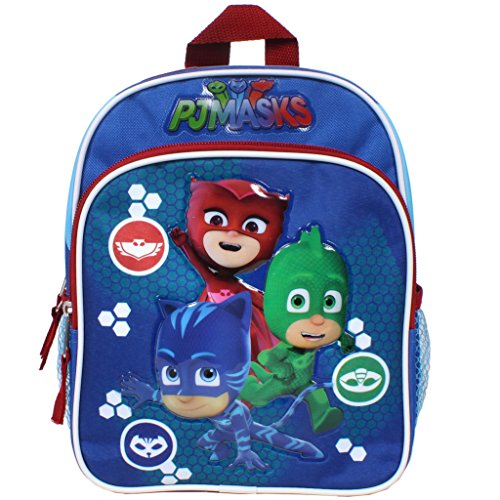 Logo Mini Backpack (PJ Masks On the Way Catboy, Gekko and Owlette 10-inch Mini Backpack with Two Side Mesh Pockets)