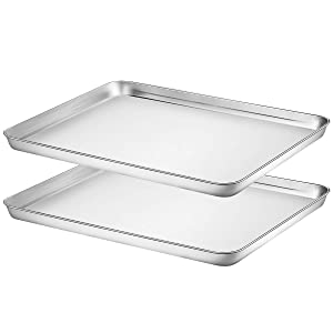 """Footek Baking Sheet Set of 2, Stainless Steel Baking Pans Cookie Sheets for Toaster Oven, 16""""L×12""""W×1""""H, Healthy & Non Toxic, Superior Mirror Finish & Easy Clean, Dishwasher Safe"""