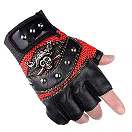 AlexVyan 1 Pair Black Pirates Gloves Outdoor Gloves Protective Half Finger Hand Riding, Cycling, Bike Motorcycle Gym…