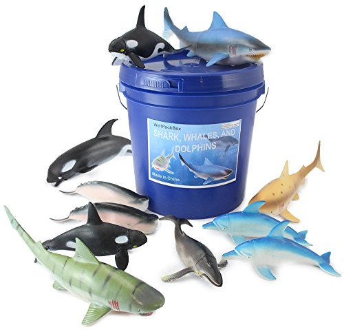 Well Pack Box Big Blue Bucket 11 Large Shark Whale Dolphin Toy Animal Figures For Toddlers Kids Boy Girls Bath Tub Adventures