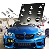 1 Set Front Tow Hook License Plate Bumper Mounting Bracket Fit BMW 1 3 5 Series X5 X6 E36 E82 E88 E90 E91 E92 E93 E70 E71 M3 [black]
