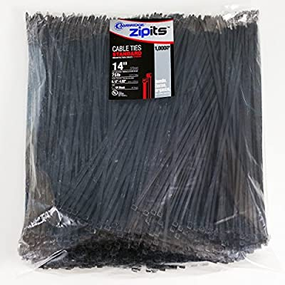 Cambridge Zipits 1000 pcs- 75 Lbs Tensile Strength, Standard Duty Nylon Cable Ties, CONTRACTOR PACK