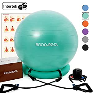 Yoga Ball Chair, RGGD&RGGL Exercise Ball with Leak-Proof Design, Stability Ring&2 Adjustable Resistance Bands for Any…