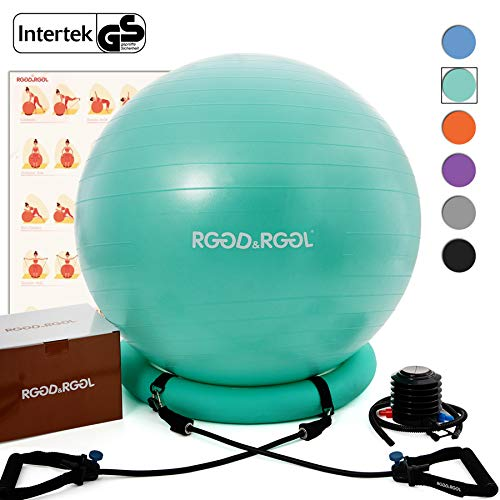RGGD&RGGL Yoga Ball Chair, Exercise Balance Ball Chair 65cm with Inflatable Stability Ring, 2 Resistant Bands and Pump for Core Strength and Endurance (Mint Green) (Best Exercise Ball Chair)
