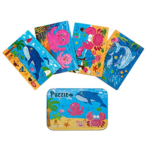 4 in 1 Wooden Jigsaw Puzzles with a Storage Box Best Gift for 3 4 5 Years Old Toddlers Kids (Ocean (4in 1 Fun Pack)