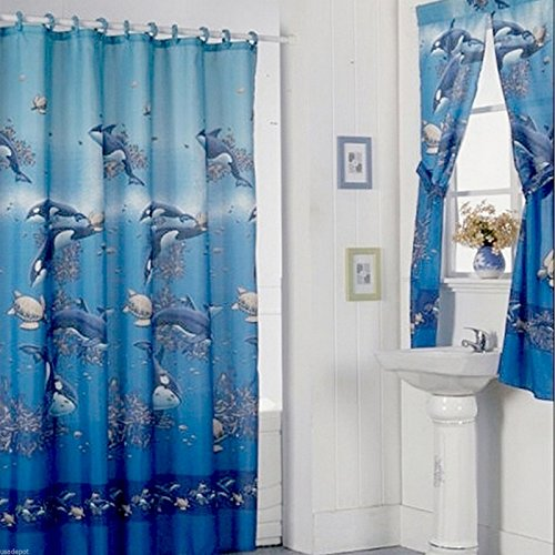 Aqua Blue Design Shower Curtain Drapes and Window Set w/ Liner+Rings NEW (Shower Curtains Window Curtains)