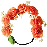 Mia Flashion Flowers-Flower Halo Headband That Lights Up! Large Orange Roses With Orange Lights-3 Settings: Fast Flash, Slow Flash, Constant Light-Adjustable Strap-Battery Included AS SEEN ON TV