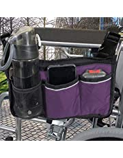 Rolstoelaccessoires, waterdichte rolstoeltassen organizer om aan de achterkant te hangen met heldere lijn zwarte opbergorganisatoren voor thuis/buiten/auto (zwarte zijde)