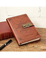 Notebook MOHOO Diario Contraseña Cuaderno Vintage PU Cuero Diario Diario Contraseña Libro Candado con Cerradura de Combinación 112 Páginas Vintage Notebook (Regalo de Navidad)