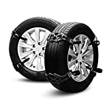 AUTOLOVER Car Security Chains 8pcs Anti Snow Chains of Car,SUV, Truck Chain Tire Emergency Thickening Anti-Skid Chain with Gloves and Snow Shovel (Black)