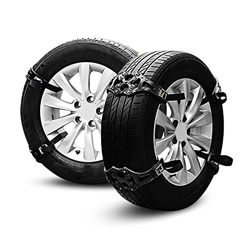 (AUTOLOVER Car Security Chains 8pcs Anti Snow Chains of Car,SUV, Truck Chain Tire Emergency Thickening Anti-Skid Chain with Gloves and Snow Shovel (Black))