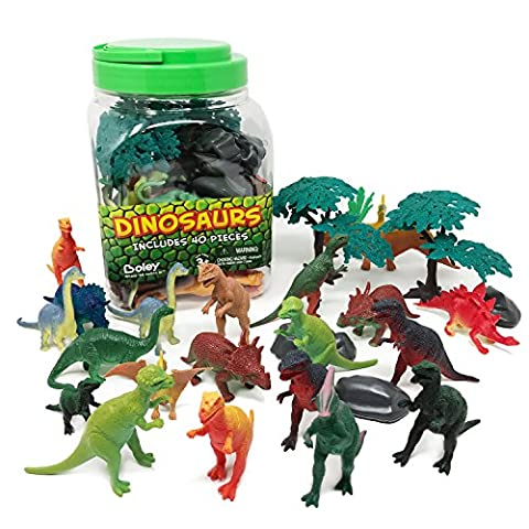 Boley 40 pc Big Bucket of Dinosaurs - Tub of educational dinosaur toy playset with T-rex, Velociraptor and more! - small bucket allows for quick cleanup of your child's pretend play - Mini Bubble Bucket
