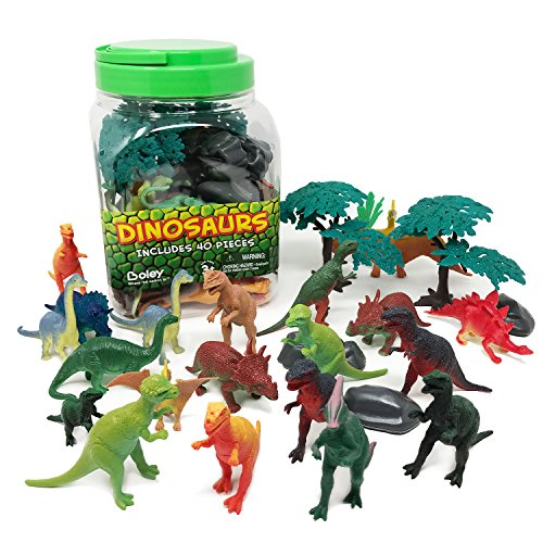 Boley 40 Piece Big Bucket Toys-Tub of Educational Dinosaur Toy Playse Toys Toy Playset with T-Rex, Velociraptor and More-Small -