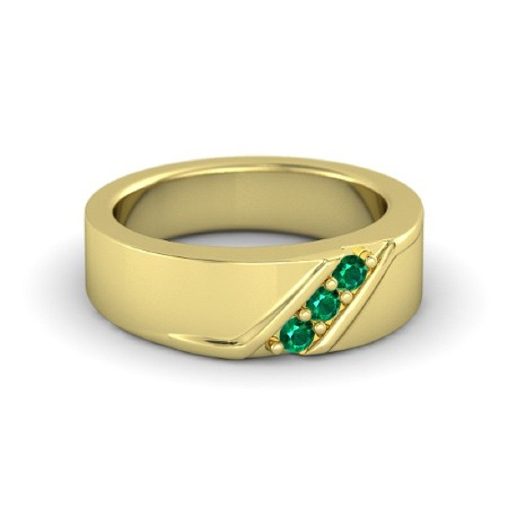 10 Engagement Weddings Mens Three Stone Band Ring Round Cut Green Emerald 14K Yellow Gold Plated