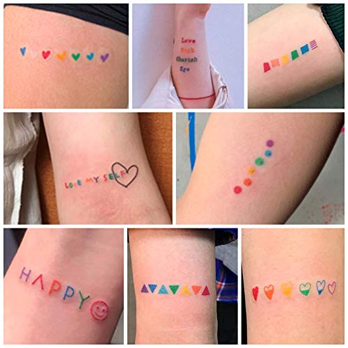 Purple Heart Tattoos (Everjoy Rainbow Temporary Tattoos - Cute Waterproof Colorful Removable Body Art Stickers for Adults and kids, 60)