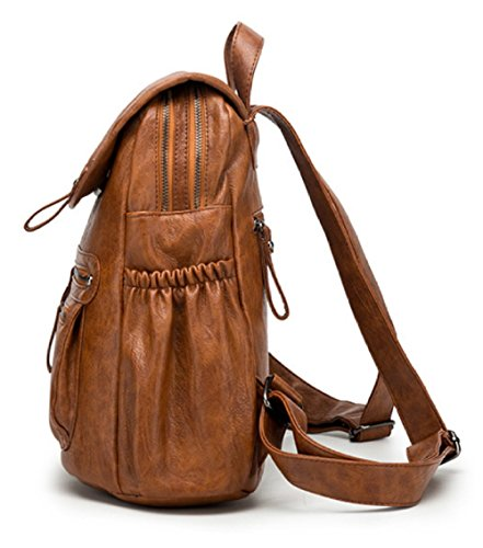 Backpack Soft Multi Bags function Vintage Fashion School Brown PU Casual 1nI8wv