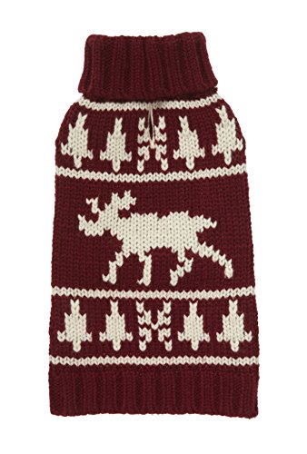 (Fab Dog Americana Classics Knit Dog Sweater, Moose Burgundy, 14