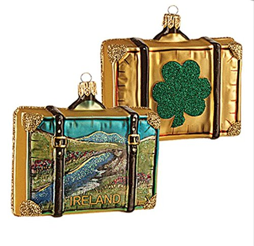 (Ireland Suitcase Shamrock Polish Glass Christmas Ornament Travel Souvenir Decoration)