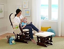 Baby Decorations-Baby Furniture-Premium Stork Craft Bowback Glider and Ottoman Set - Cherry/Beige