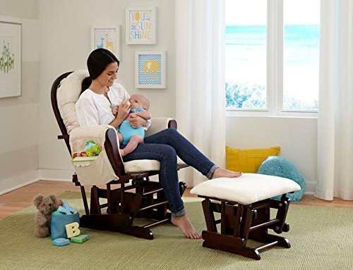 Baby Decorations-Baby Furniture-Premium Stork Craft Bowback Glider and Ottoman Set - Cherry/Beige by Stork Craft