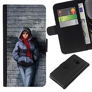 KingStore / Leather Etui en cuir / HTC One M7 / Pared de ladrillo de la bufanda de invierno Outfit Ciudad muchacha del estilo