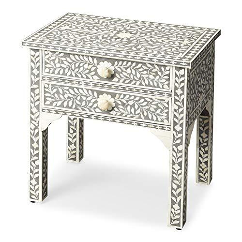 Butler Heritage Gray Rectangular Select Wood Solids, MDF, Bone Vivienne Gray Bone Inlay Side Table ()