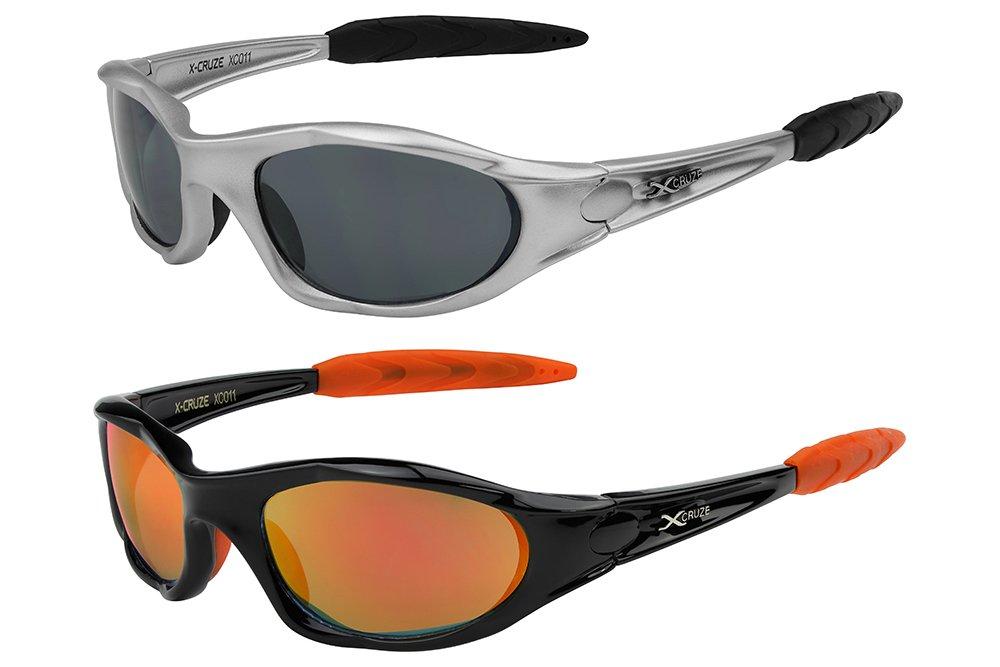 X-CRUZE® 2er Pack X06 Sonnenbrillen Sportbrille Radbrille Fahrradbrille - 1x Modell 06 (Rahmen und Bügelfarbe: silber) und 1x Modell 03 (Rahmen und Bügelfarbe: schwarz matt) qPLhRk9Z