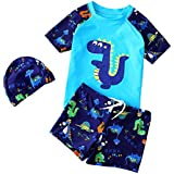 Funny Boys Swimsuit Green Dinosaur Two Pieces Bathing Suit, 4-6Yrs