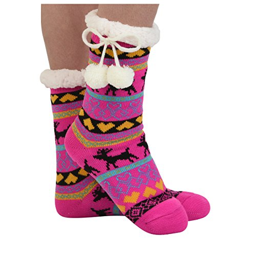 Snoozies Womens Sherpa Lined Knit Festive Winter Fleece with Pom Slipper Socks Size 5-10, Pink 2 (Lined Size Stockings Plus)