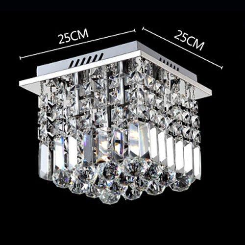 Siljoy Crystal Ceiling Light Modern Square Chandelier Lighting for Hallway Entrance W10 x H10 Raindrop Design by Siljoy (Image #3)