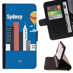 King Case - FOR Samsung Galaxy S6 - I like sydney - Prima caja de la PU billetera de cuero con ranuras para tarjetas, efectivo Compartimiento desmontable y correa para la mu?eca