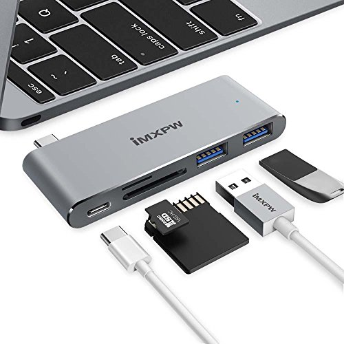 """USB C HUB, iMXPW Type C MacBook HUB Adapter with Pass-through Charging, 2 USB 3.0 Port, SD Micro SD/TF Card Reader for MacBook 12"""" New MacBook Pro 2016 2017 with Thunderbolt 3 Port (Space Gray)"""
